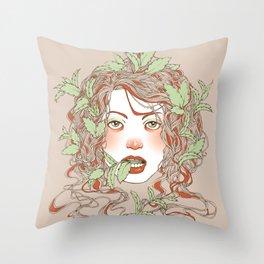 Peppermint Girl Throw Pillow