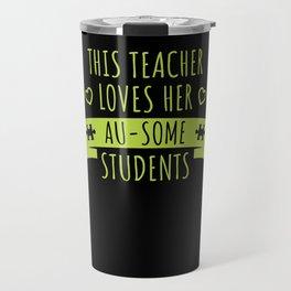 Teacher Autism Support Gift Autistic Student Love Puzzle Travel Mug