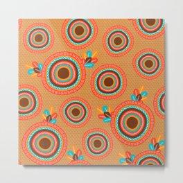 African colorful Mandalas orange Metal Print