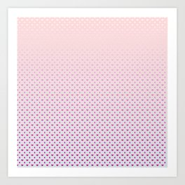 Ombre Red pink white hearts and raindrops on a sunset pink purple background Art Print