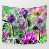 clover Wall Tapestries featuring Sparkling clover. by Mary Berg