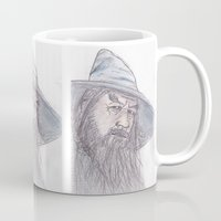 gandalf Mugs featuring Gandalf by jamestomgray