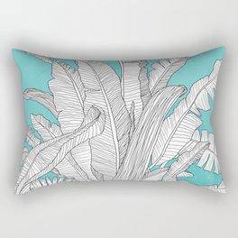 Banana Leaves Illustration - Blue Rectangular Pillow