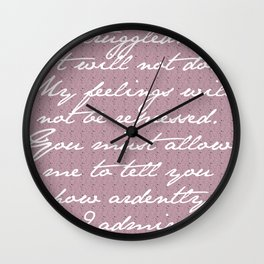 PRIDE AND PREJUDICE JANE AUSTEN MR. DARCY ENGAGEMENT SPEECH White Text Wall Clock