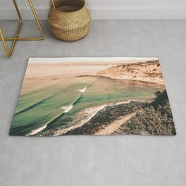 California Pacific Coast Highway // Vintage Waves Crashing on the Beach Teal Ocean Water Rug