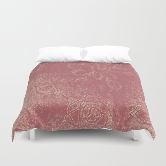 Light pink abstract design vintage velvet look with flowers Duvet Cover