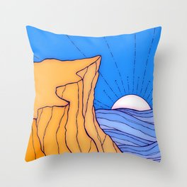 A sand shore cliff Throw Pillow