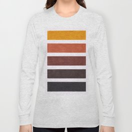 Colorful Brown Geometric Pattern Long Sleeve T-shirt