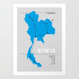 Constellation of Food - Thailand - Blue Art Print