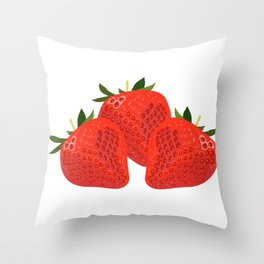 Sweet and crunchy organic strawberries Throw Pillow
