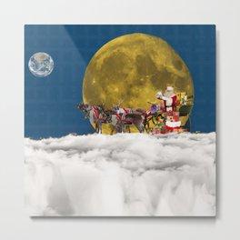 Santa and His Sleigh Metal Print