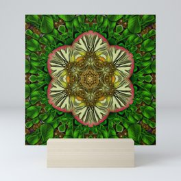 Gothic  metal and golden fresh meditative flowerpower Mandala Mini Art Print