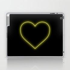 Yellow Neon Valentines Love Heart Laptop & iPad Skin