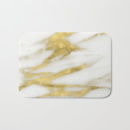 Marble - Gold Marble on White Pattern Bath Mat