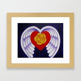 You Are My Angel With Heart Rose And Angel Wings By Annie Zeno Framed Art Print