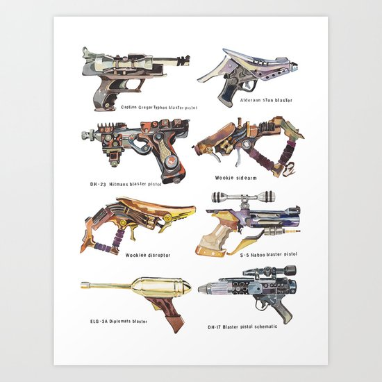 Star Wars Gun Collection Art Print