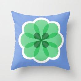 Purple and green geometric flower Throw Pillow
