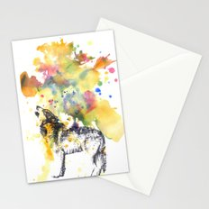 Howling Wolf in Splash of Color Stationery Cards