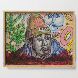 tyler,rapper,colourful,colorful,poster,wall art,fan art,music,hiphop,rap,legend,shirt,print Serving Tray