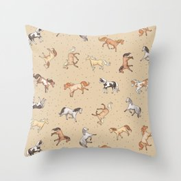 Scattered Horses spotty on taupe pattern Throw Pillow