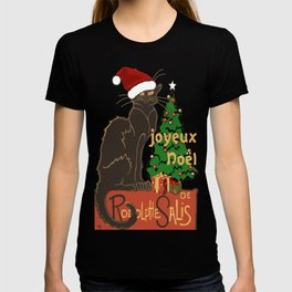 Joyeux Noel Le Chat Noir With Tree And Gifts T-shirt