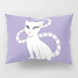 Pretty white cartoon kitty cat Pillow Sham