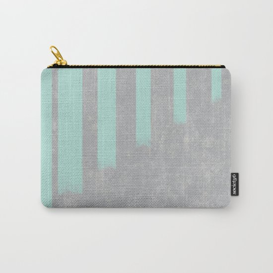 Soft cyan stripes on concrete Carry-All Pouch