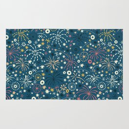 There are fireworks everywhere (blue) Rug