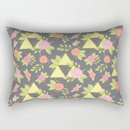 Garden of Power, Wisdom, and Courage Pattern in Grey Rectangular Pillow