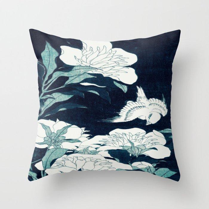 JAPANESE FLOWERS Midnight Blue Teal Deko-Kissen