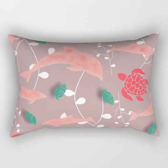 Dolphin old pink Rectangular Pillow