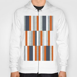 Orange, Navy Blue, Gray / Grey Stripes, Abstract Nautical Maritime Design by Hoody