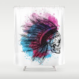Skull with Indian headband, feathers and watercolour  Shower Curtain
