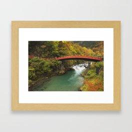 Shinkyo Bridge in Nikko, Japan in autumn Framed Art Print
