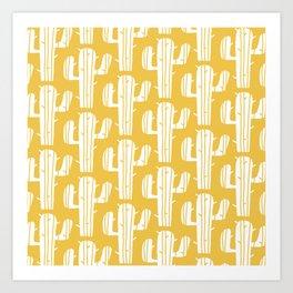 Mid Century Modern Desert Cactus Pattern 835 Yellow Art Print