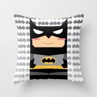 superhero Throw Pillows featuring Superhero by Xiao Twins
