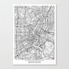 Bangkok Map White Canvas Print