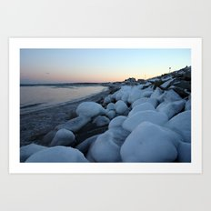 Snowballs on the Beach Art Print