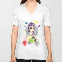 princess V-neck T-shirts featuring Princess by Lagoonartastic