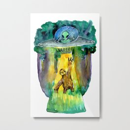 alien and sloth in the forest Metal Print