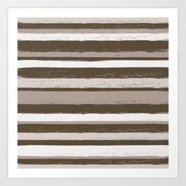 Stripes - Chocolate Coffee Cream Art Print