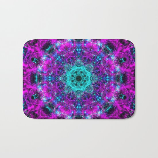 Neon Space Mandala Bath Mat