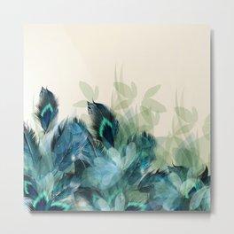 Misty Blue Peacock Metal Print
