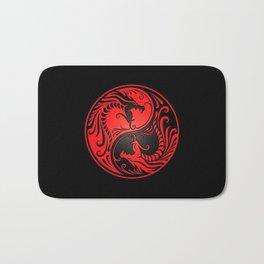 Yin Yang Dragons Red and Black Bath Mat