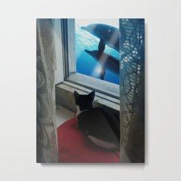 Cat Dreams - My window is the ocean Metal Print