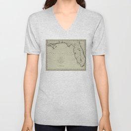 Vintage Map of Florida (1794) Unisex V-Neck