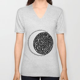 Black and white moon with dots Unisex V-Neck