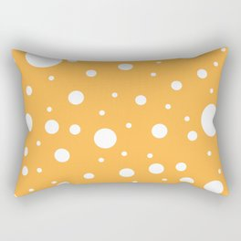 Mixed Polka Dots - White on Pastel Orange Rectangular Pillow