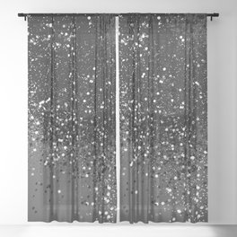 Dark Gray Black Lady Glitter #1 #shiny #decor #art #society6 Sheer Curtain