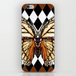 BLACK HARLEQUIN PATTERNED BROWN-WHITE  BUTTERFLY iPhone Skin